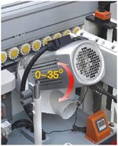 Кромкооблицовочный станок FL-6000RS, узел углового пиления торца детали